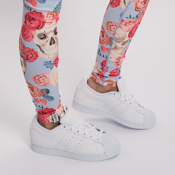 Skulls Roses Leggings Tight Damen