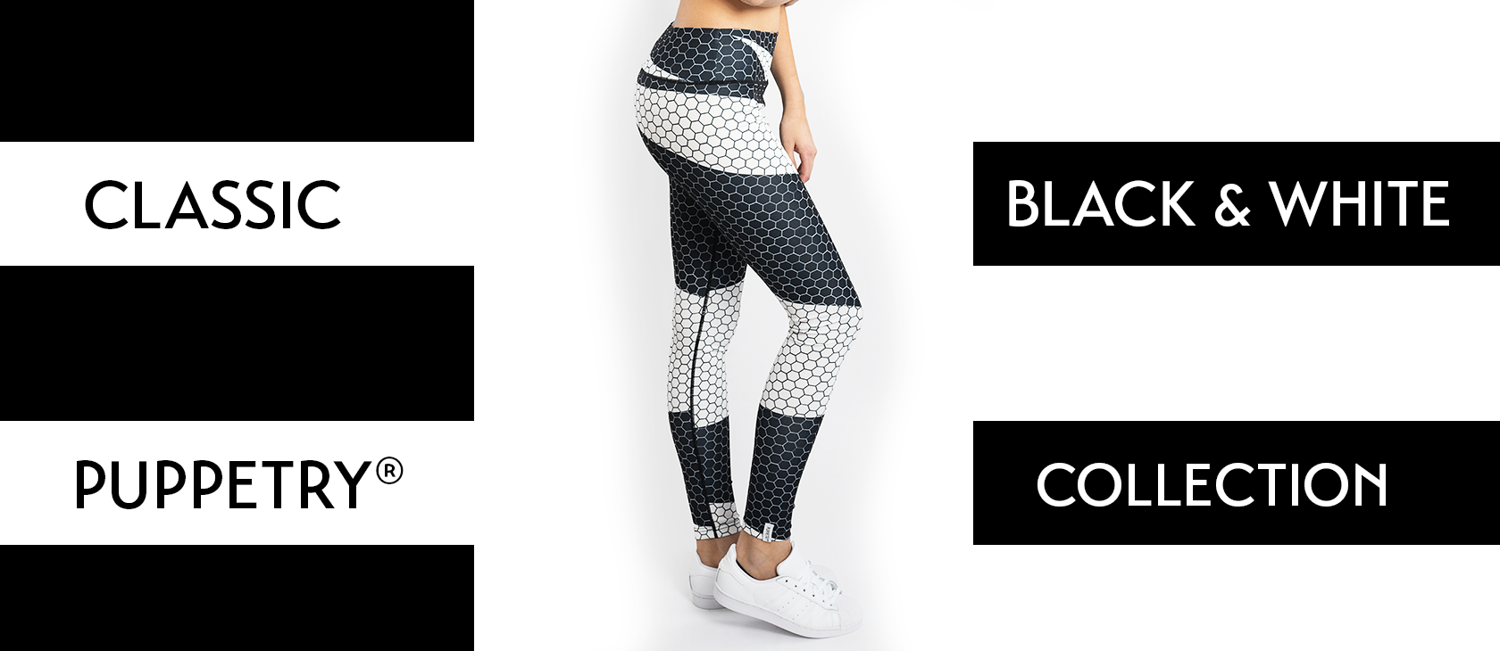 Puppetry black and white Honeycomb Leggings Online Shop, Leggings im Sale kaufen